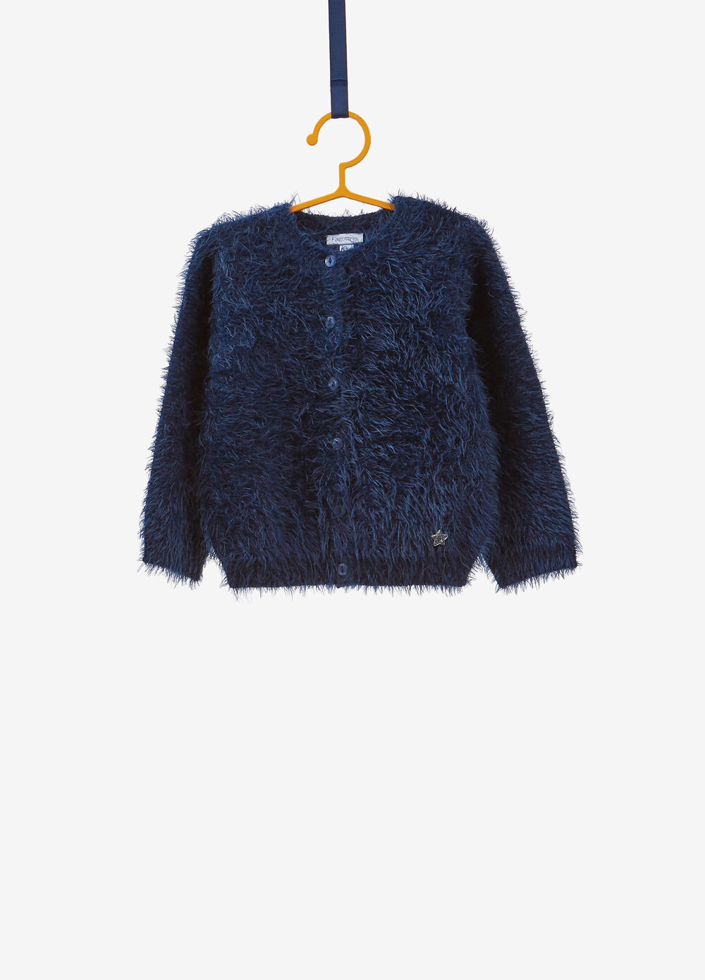 Knitted and frayed cardigan with patch