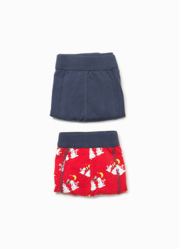 Two-pack cotton boxer shorts solid colour and patterned