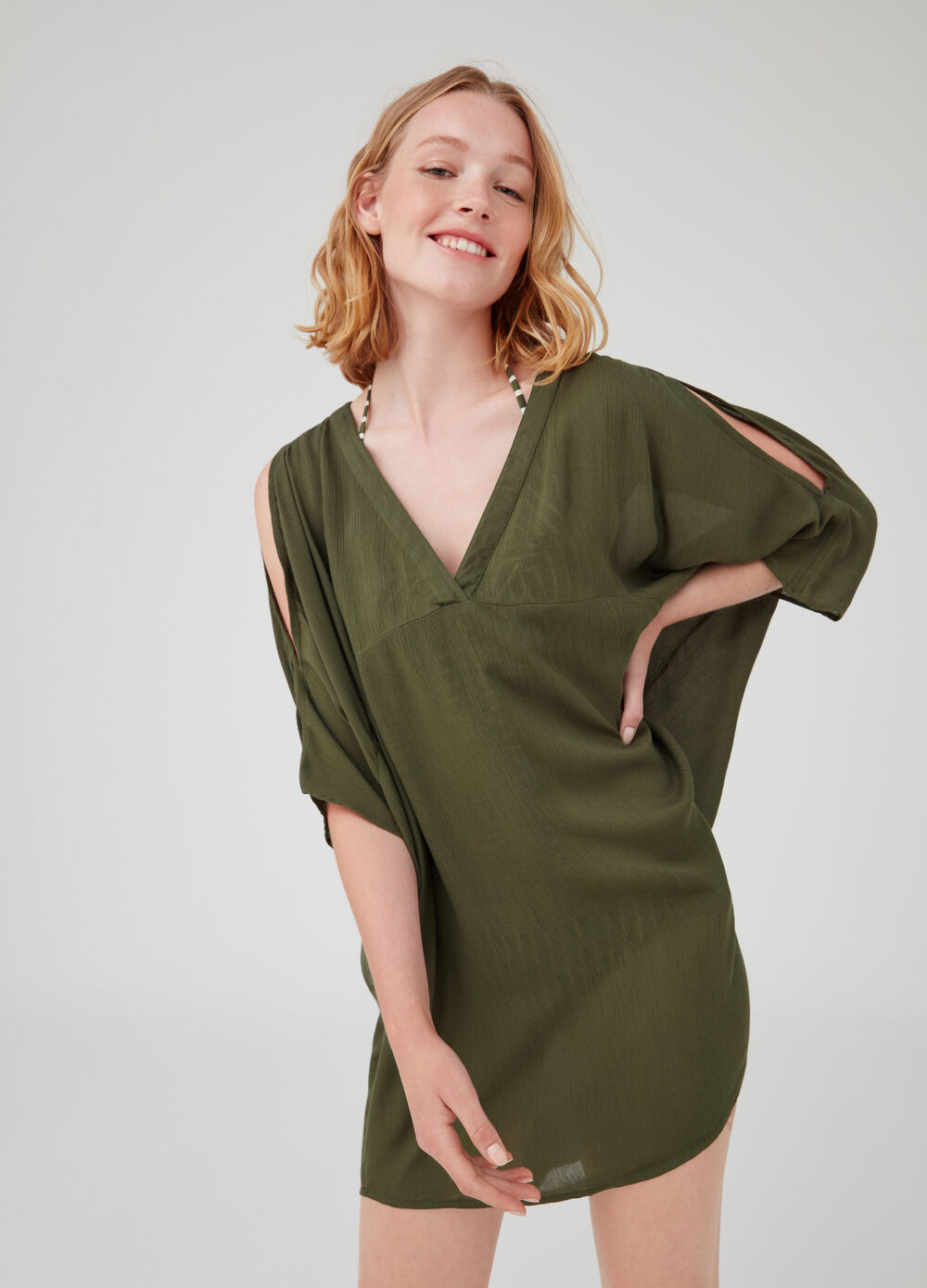 Beach cover-up with three-quarter sleeves