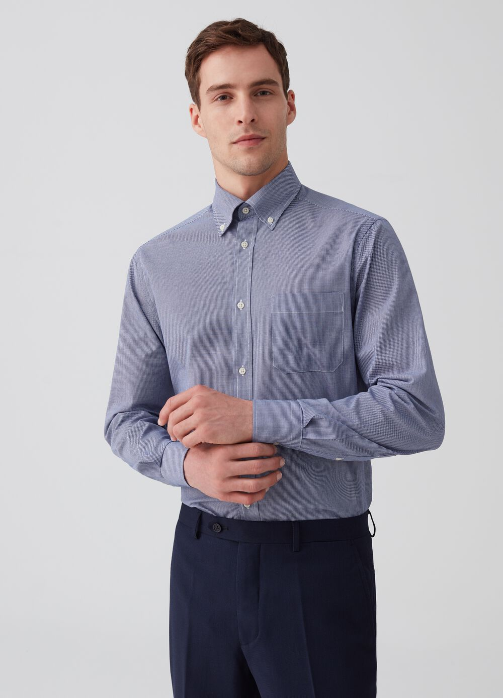 Regular-fit micro check shirt