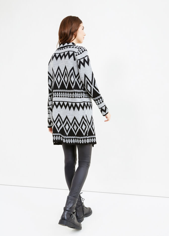 Long cardigan with geometric embroidery