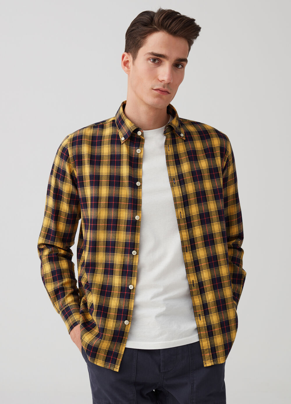 Regular-fit flannel shirt with check pattern