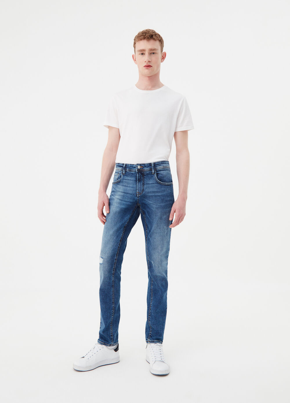 Vintage-effect slim-fit stretch jeans