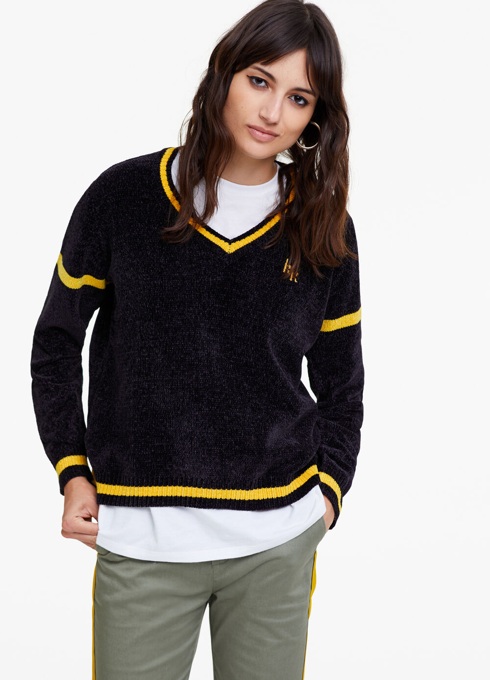 K+K for OVS striped chenille pullover