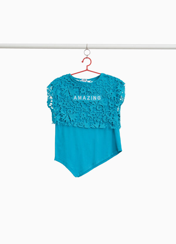 T-shirt in cotton blend with lace and patches
