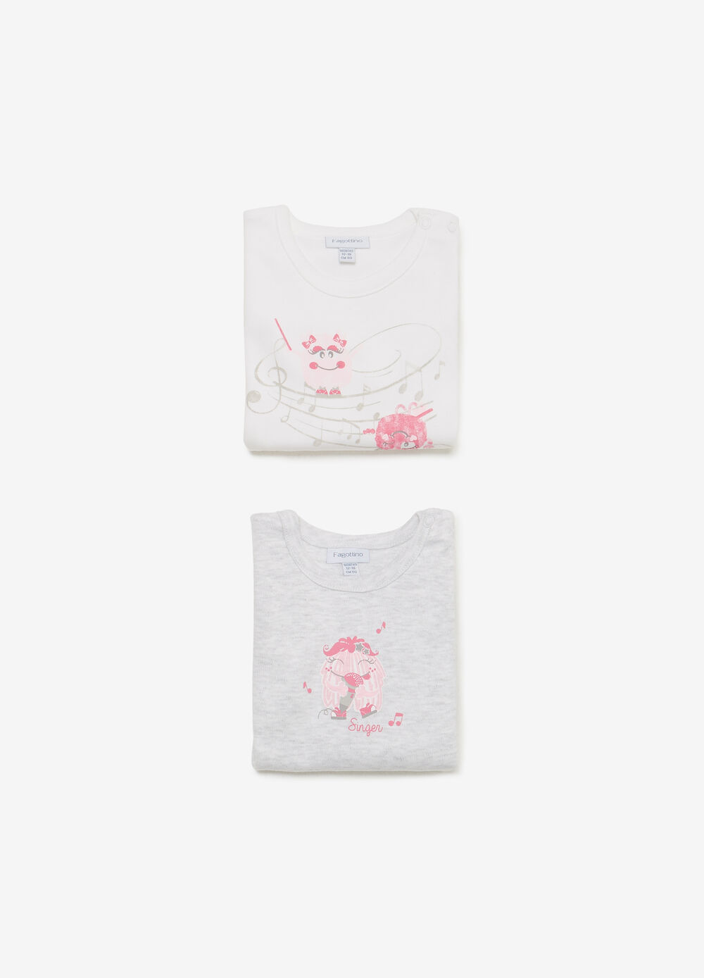Two-pack bodysuits in cotton with print