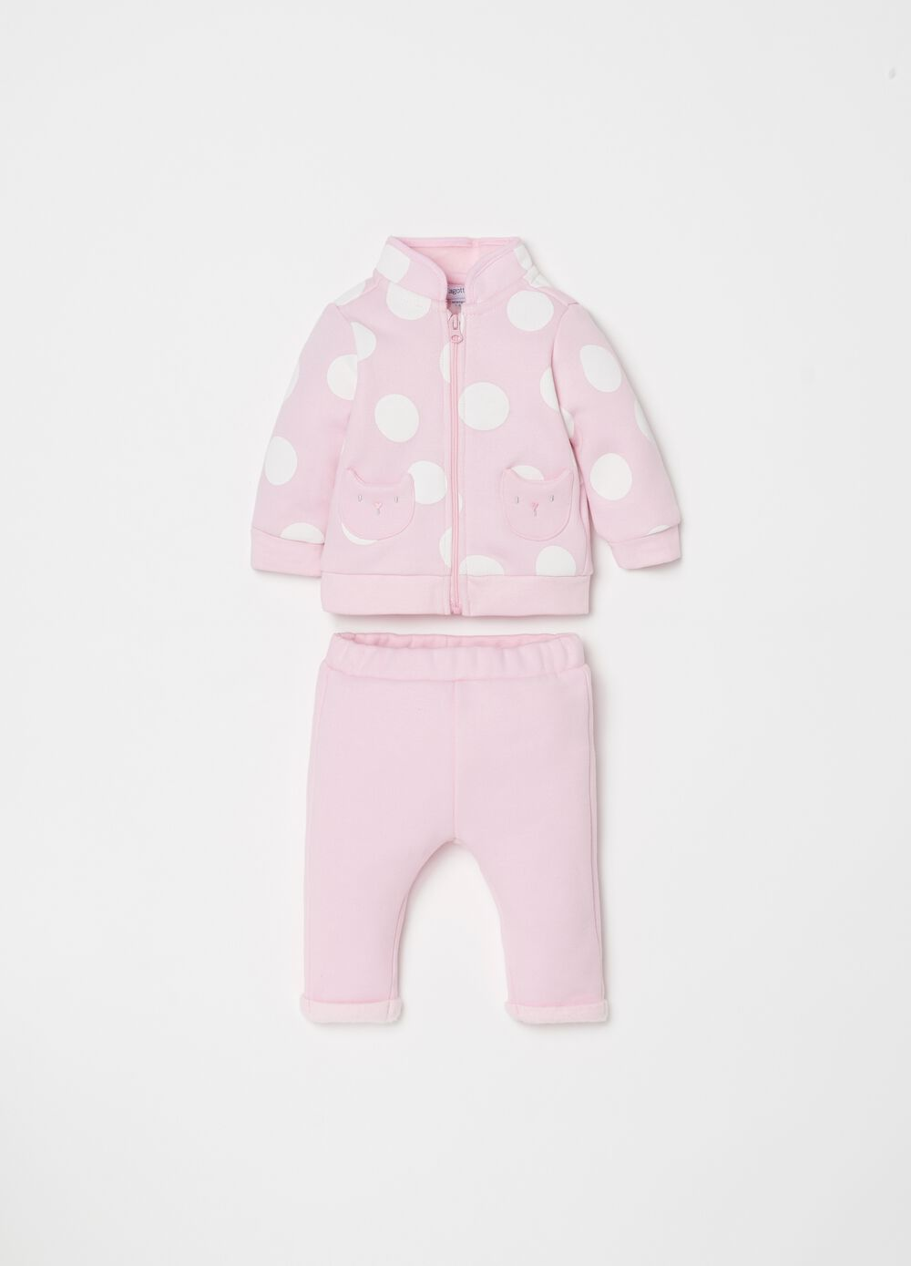 Sweatshirt and trousers set with polka dots