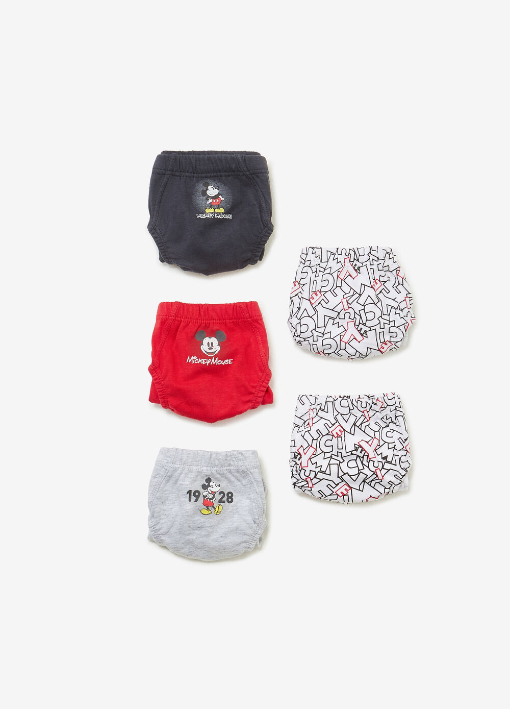 Five-pack Mickey Mouse briefs in 100% cotton