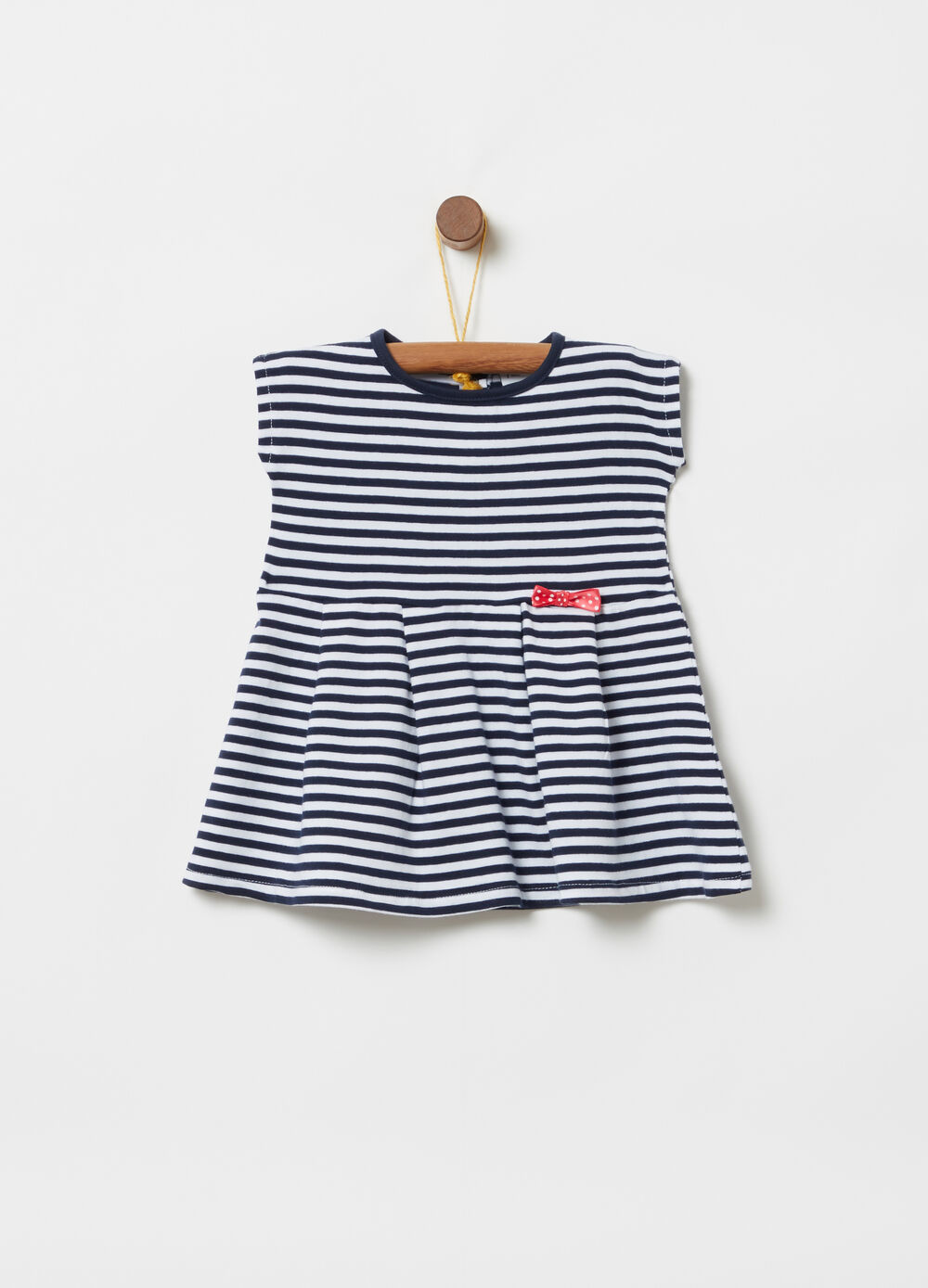 T-shirt with cap sleeves bow and striped pattern