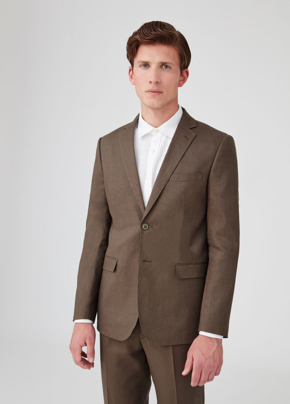 100% linen regular-fit jacket with two buttons