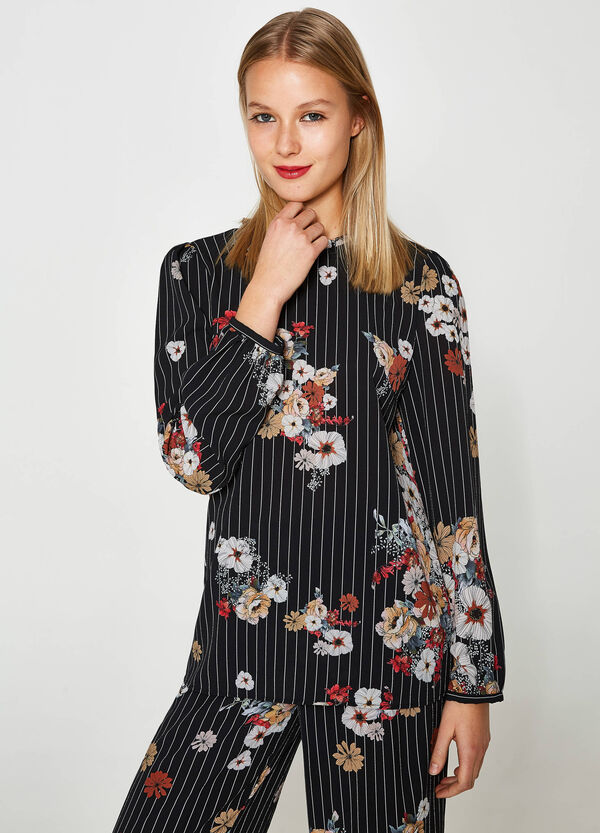 Blusa stretch stampa a righe floreale