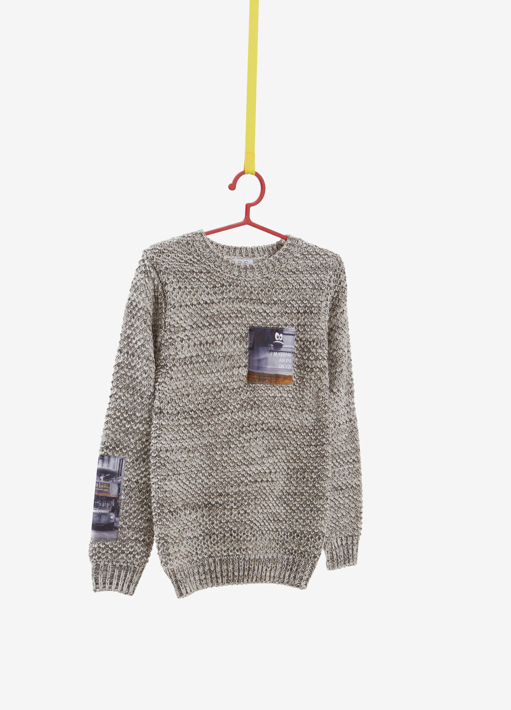 Mélange knitted pullover with breast pocket