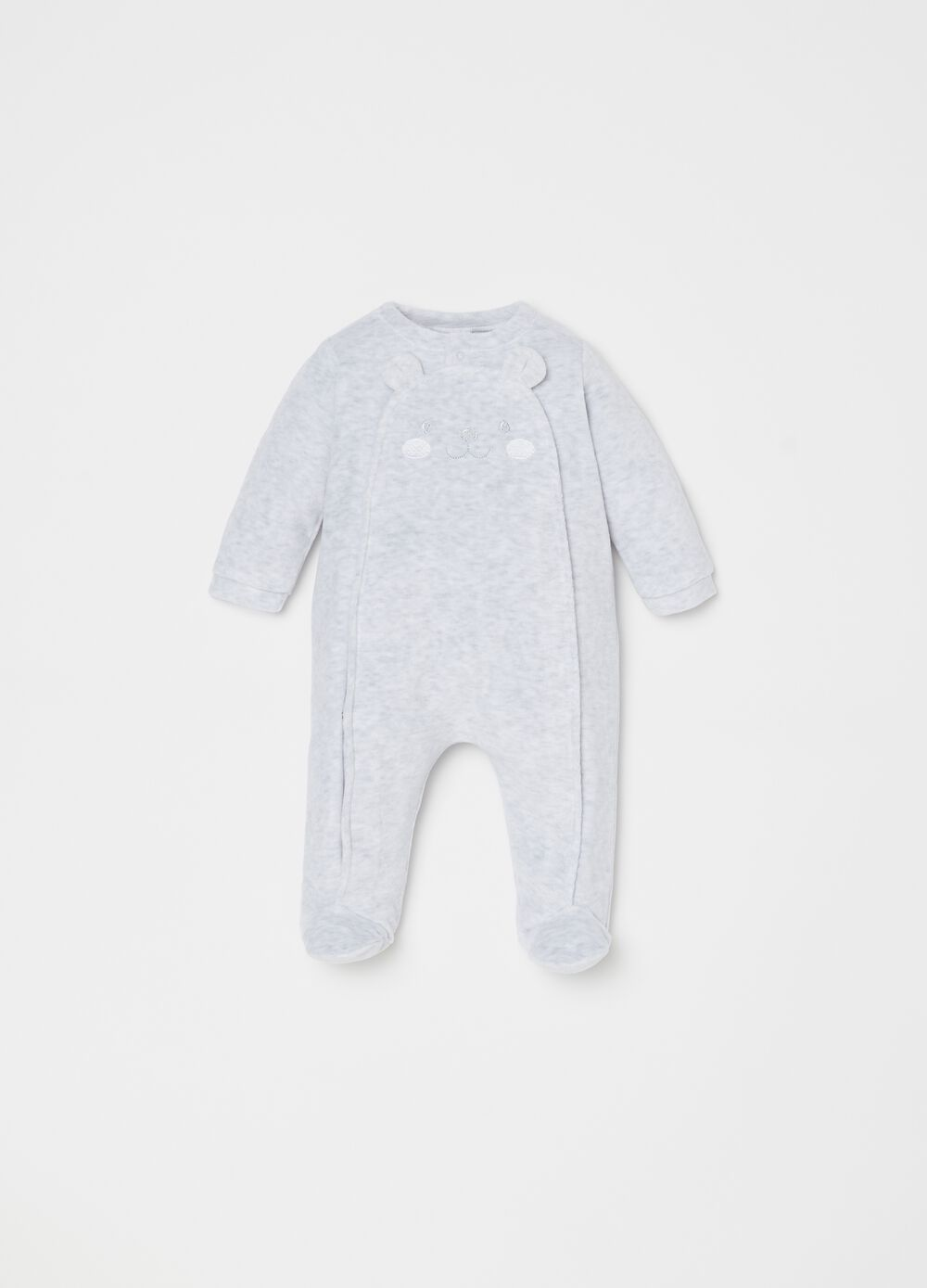 Onesie with mélange feet and bear embroidery