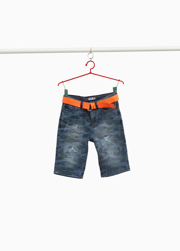 Camouflage denim Bermuda shorts with rips