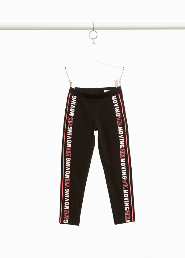 Leggings with trim and printed lettering