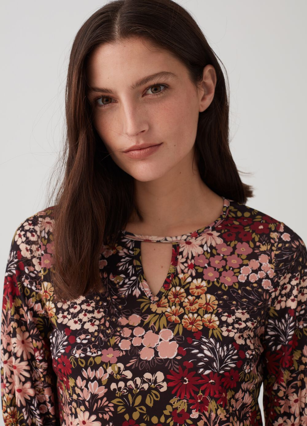Floral blouse with three-quarter sleeves