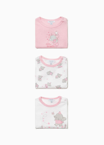 Three-pack printed and patterned elephants bodysuits