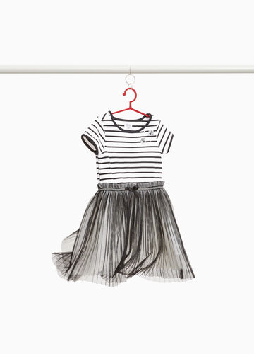 Stretch dress with tulle skirt