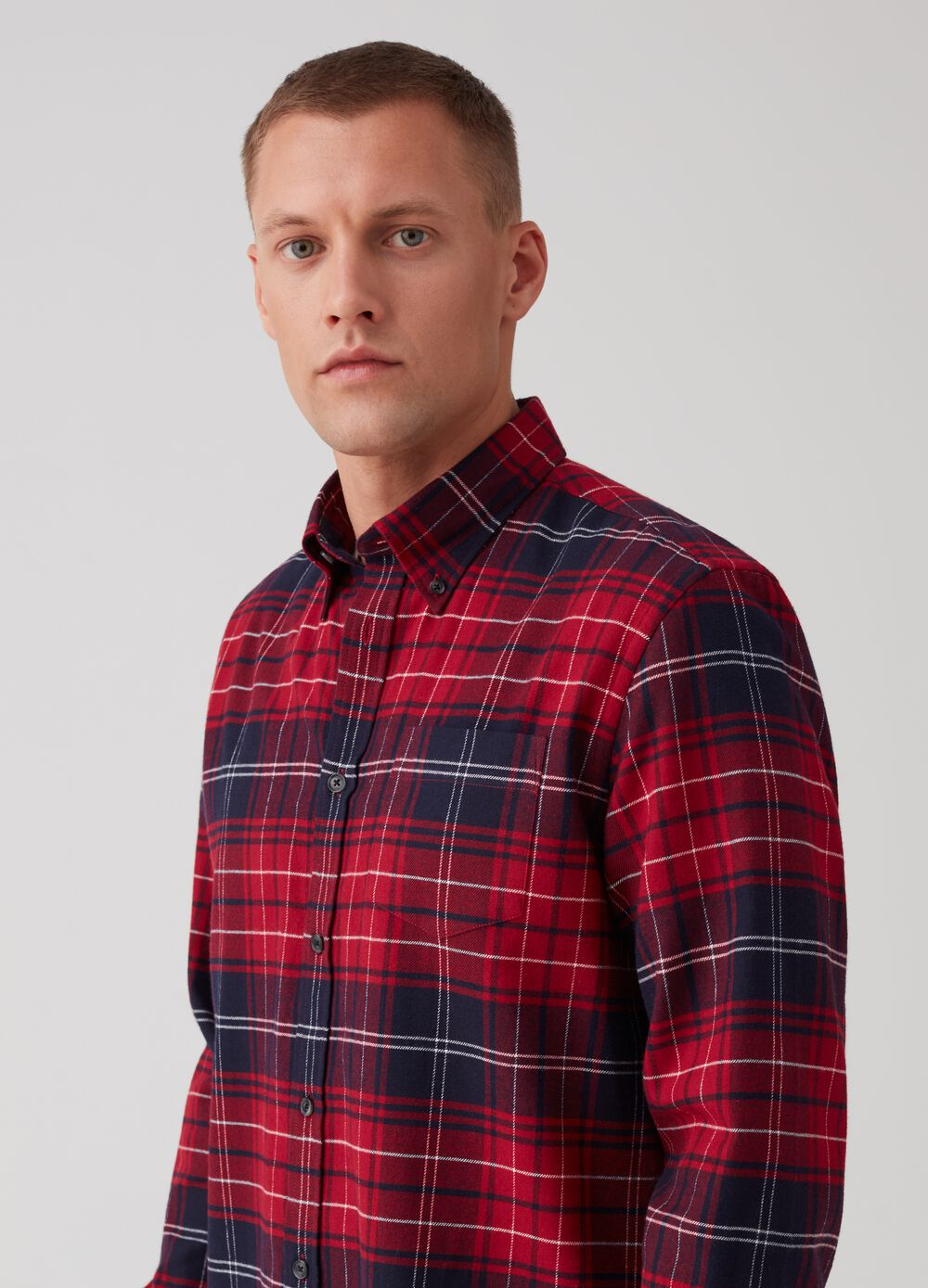 Regular-fit shirt in 100% check cotton