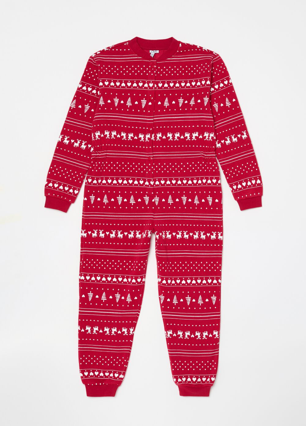 Sleepsuit with buttons and Christmas pattern