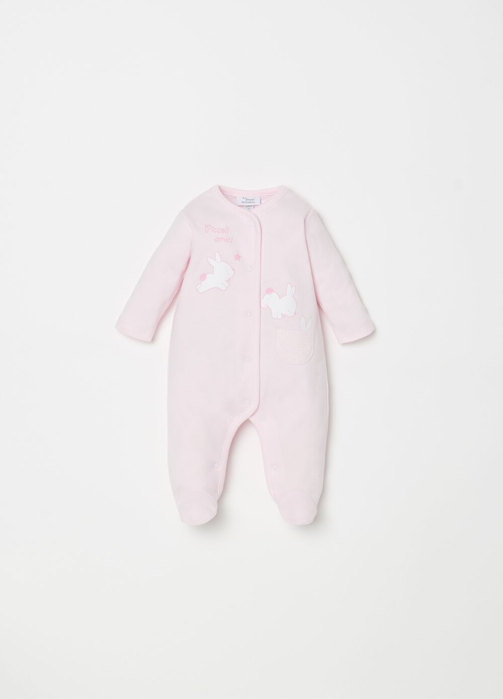 Onesie with feet, rabbit print and pattern