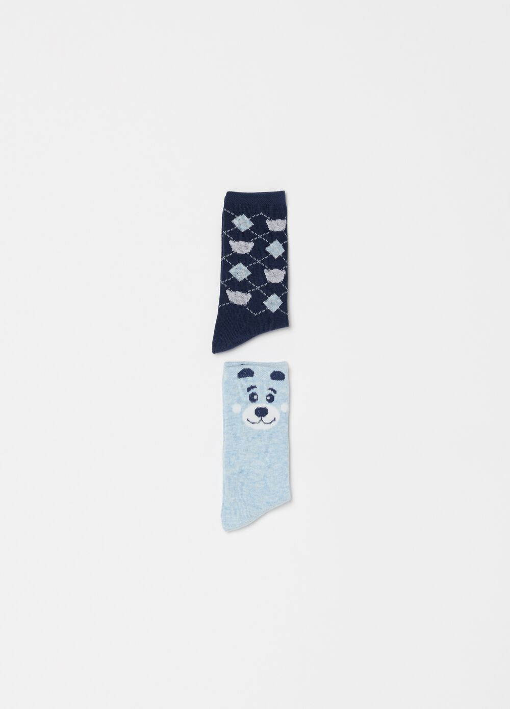 Two-pair pack short socks with embroidery and pattern