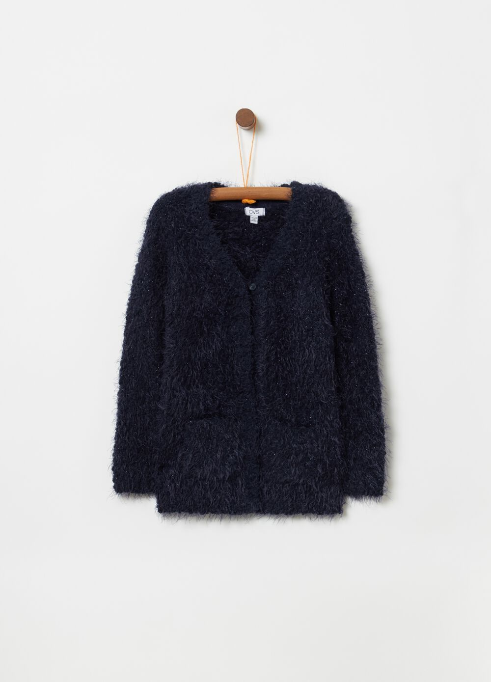 Cardigan with fur-effect lurex