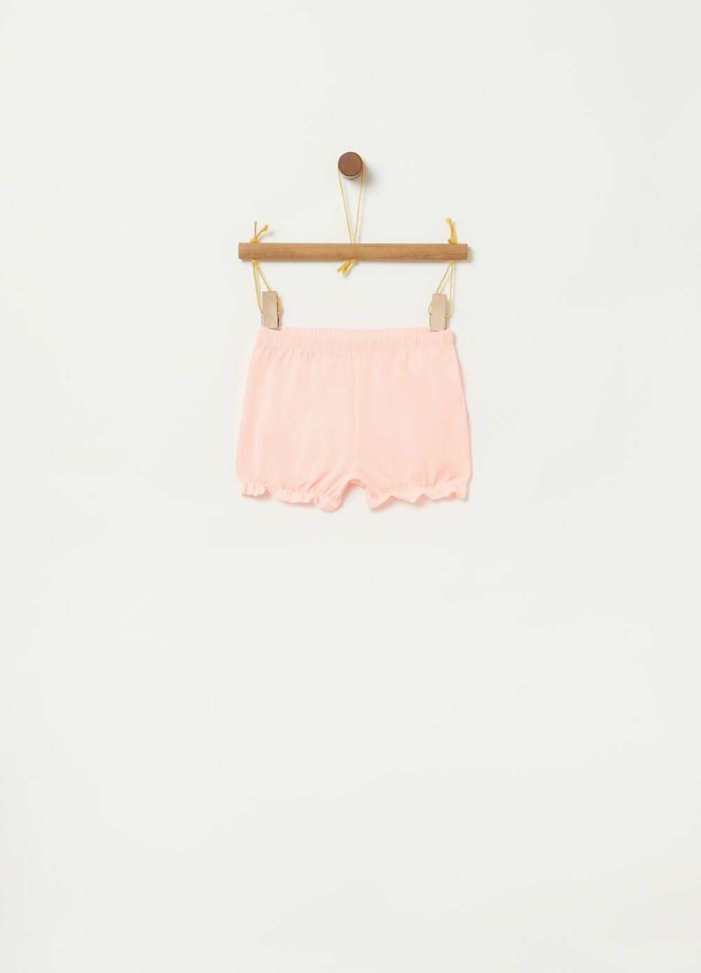 Stretch jersey shorts with gathered hem