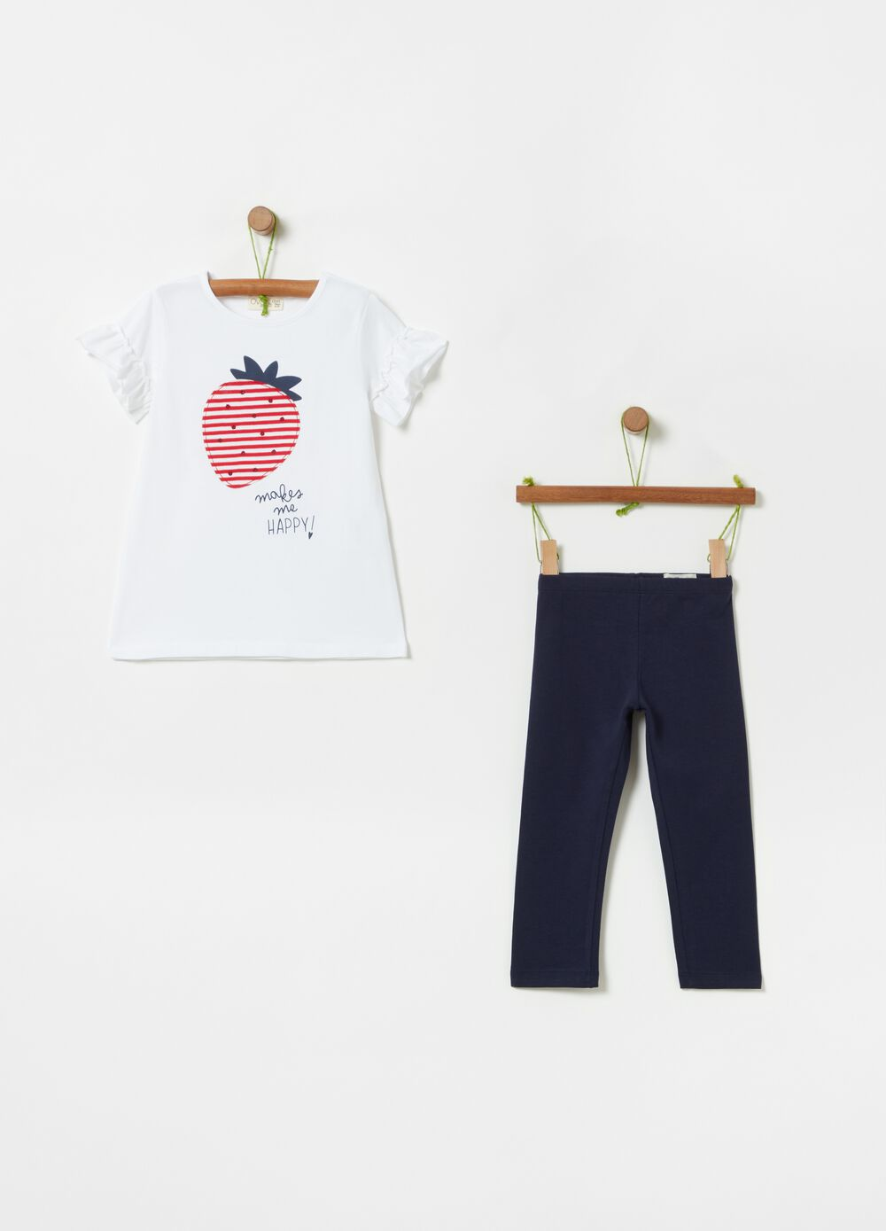 Jogging set with T-shirt and pants with print