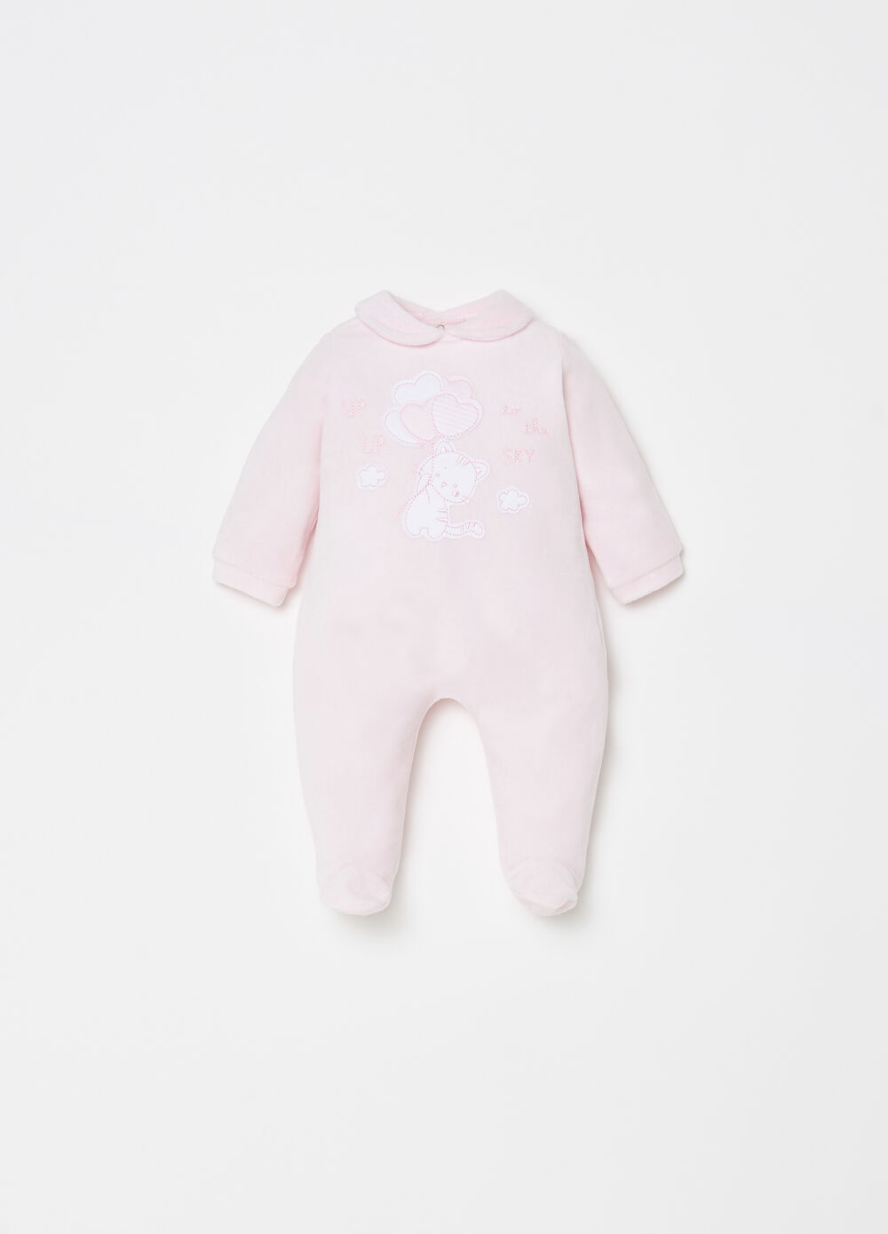 BCI onesie with feet and kitten