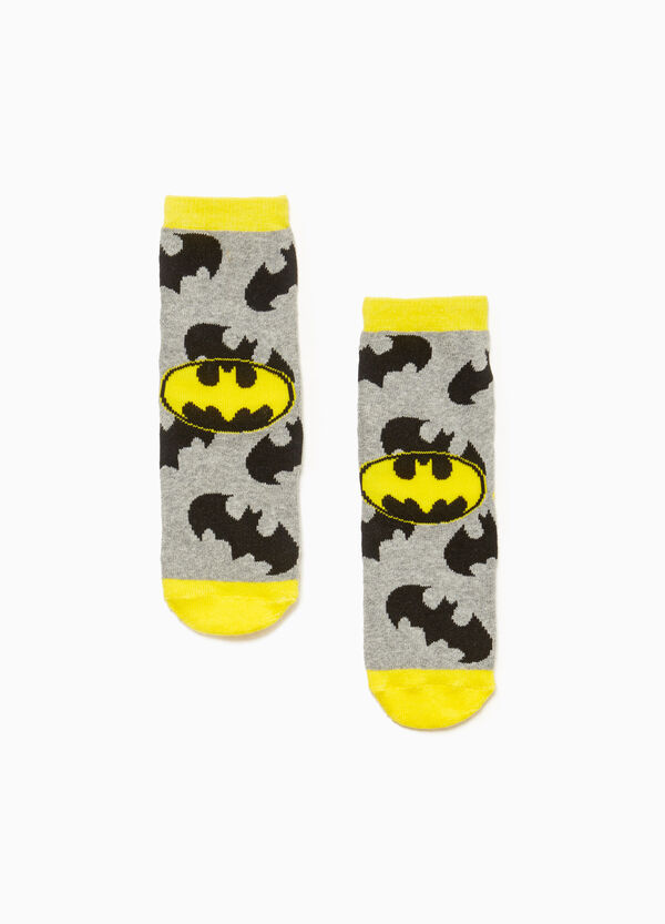 Slipper socks with Batman pattern