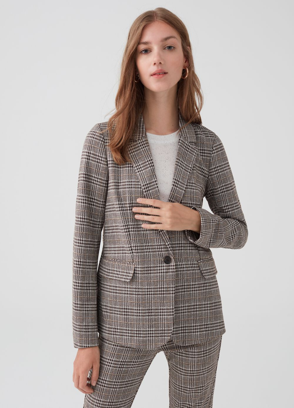 Stretch blazer with check lapels