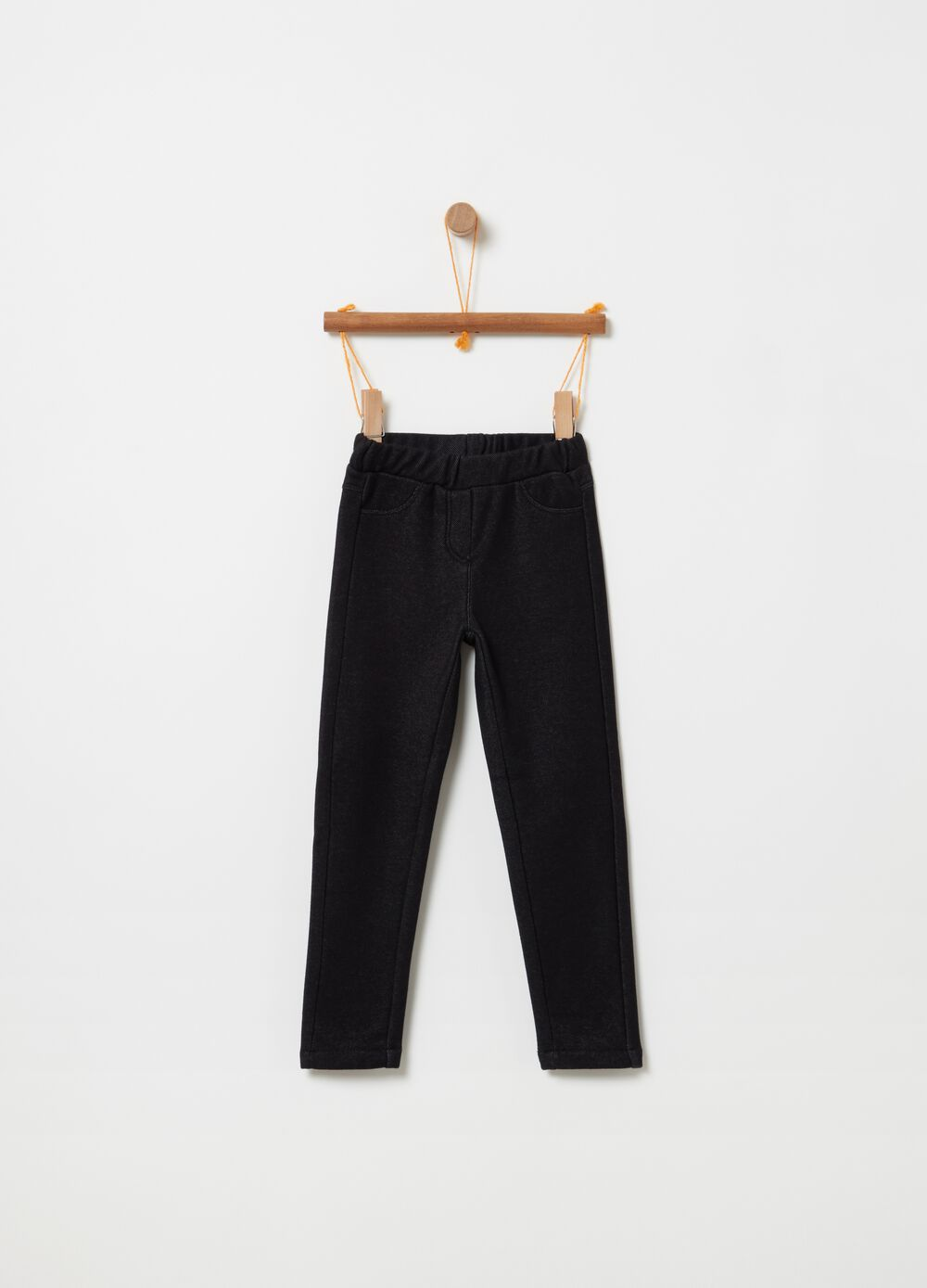 Stretch mélange trousers with pockets