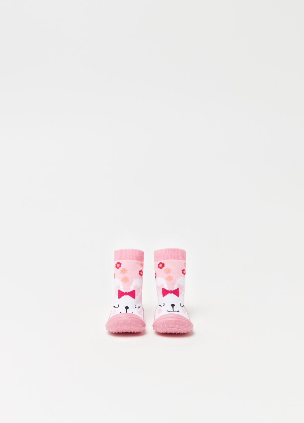 Baby shoes with high ankles and rabbit.