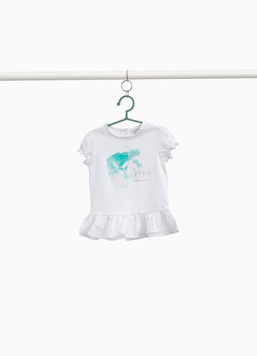 100% cotton T-shirt with flounce and print