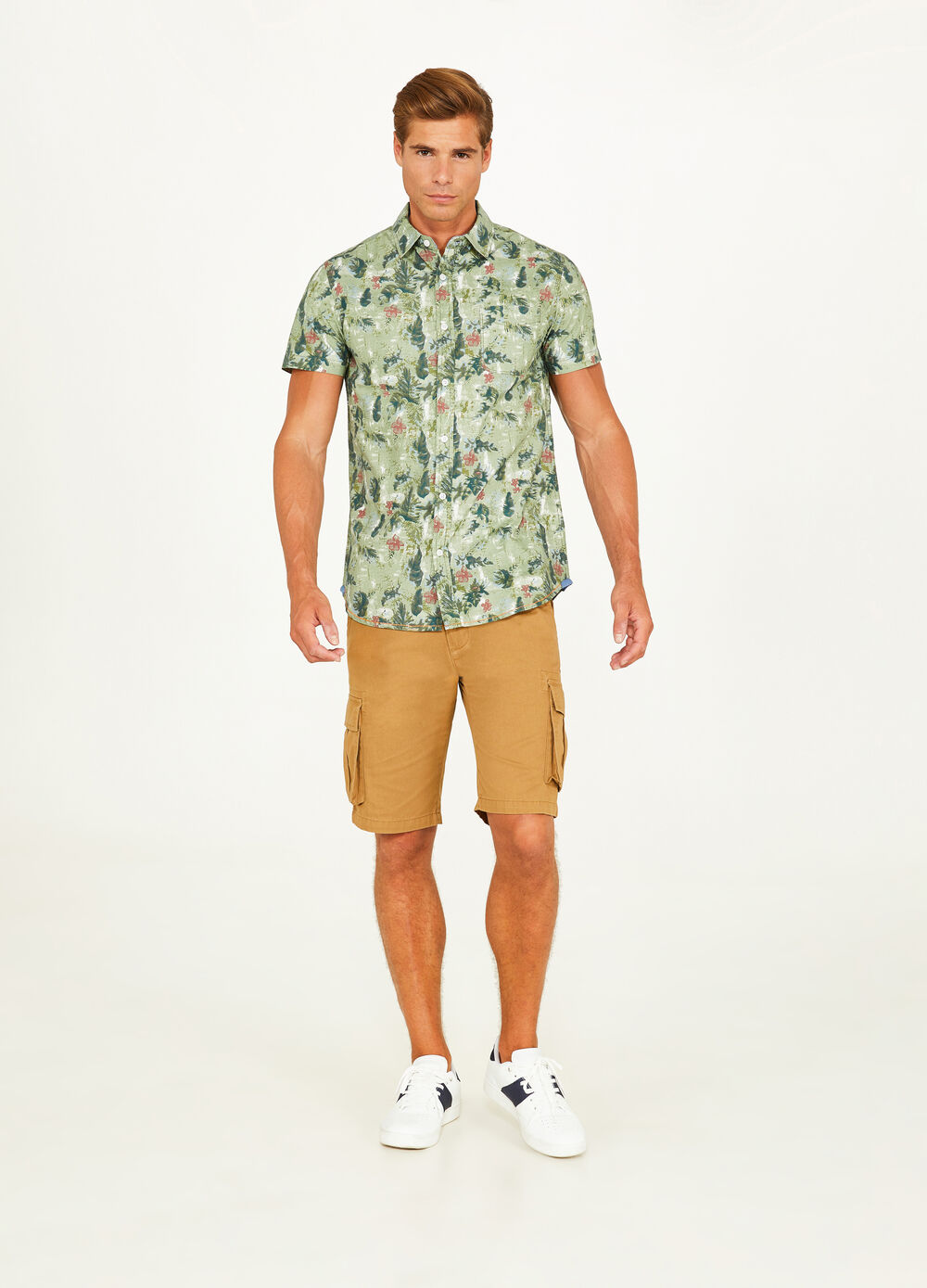 Casual floral foliage patterned shirt
