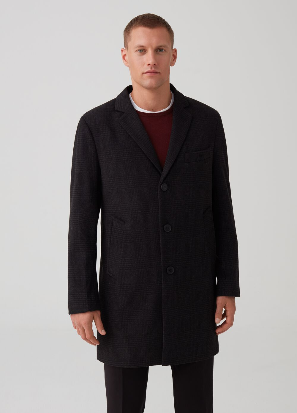 Three-button coat in Prince-of-Wales fabric