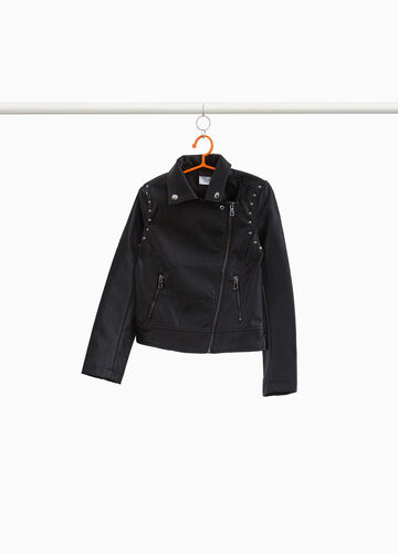 Leather look jacket with studs