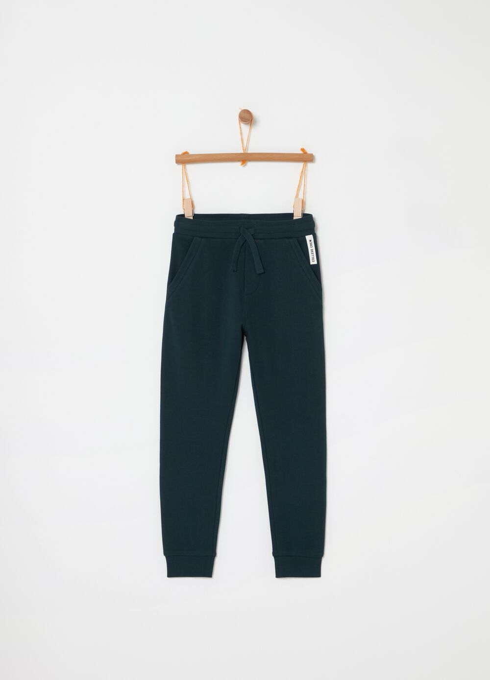 100% cotton fleece trousers with pockets