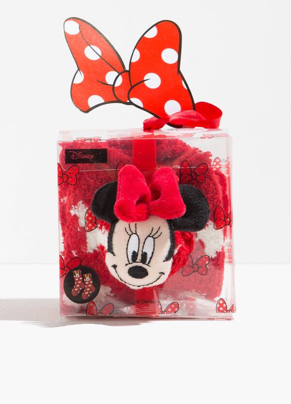 Minnie Mouse slipper socks with bow pattern