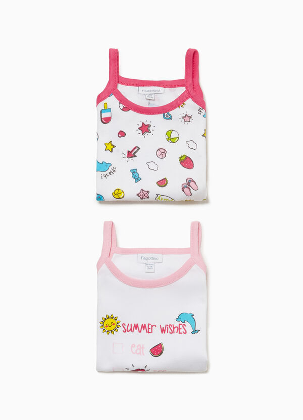 Two-pack cotton sleeveless bodysuits with pattern