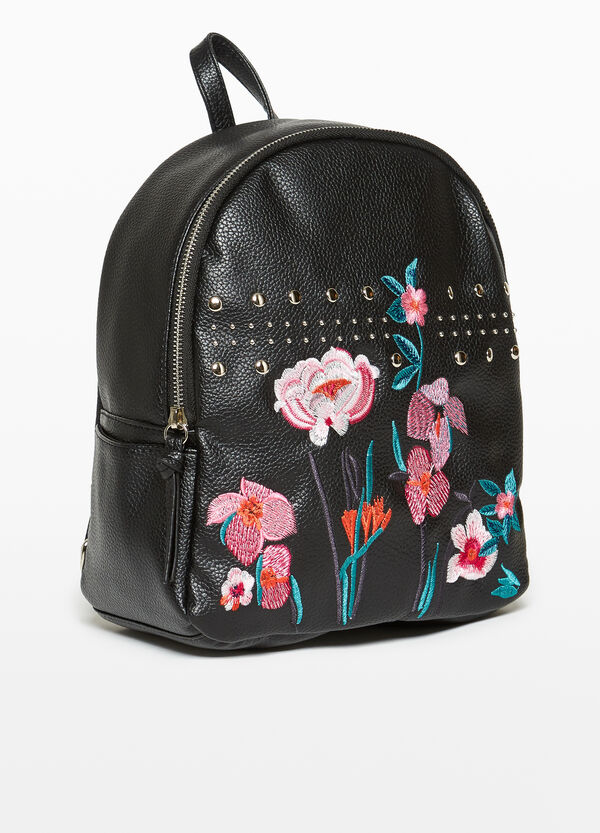 Backpack with floral embroidery and studs