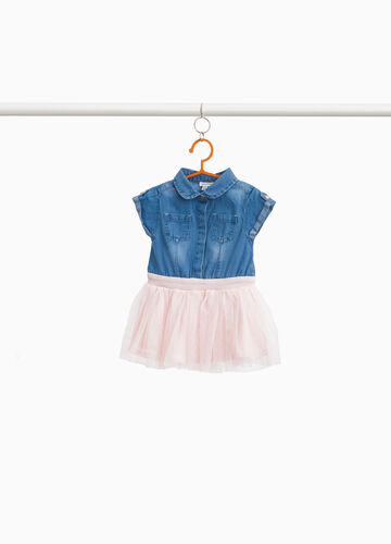 Vestitino di jeans con gonna in tulle