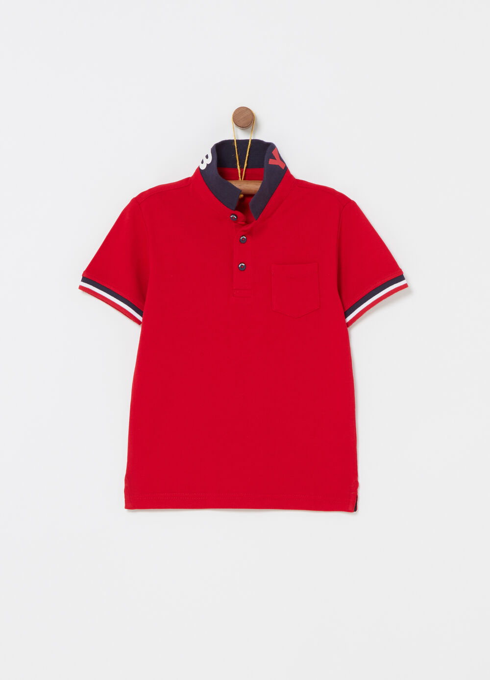Piquet polo shirt with striped ribbing and print