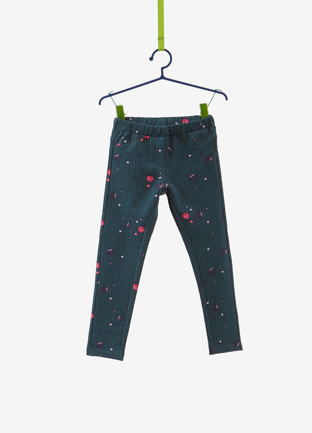 Cotton blend jeggings with floral print