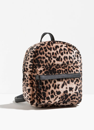 Backpack with animal print and zip