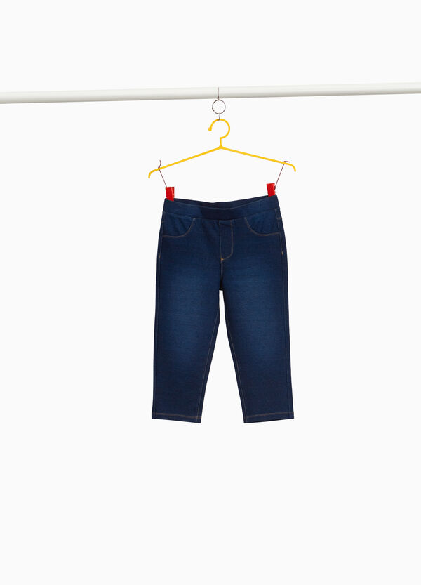 Faded-effect stretch crop jeggings