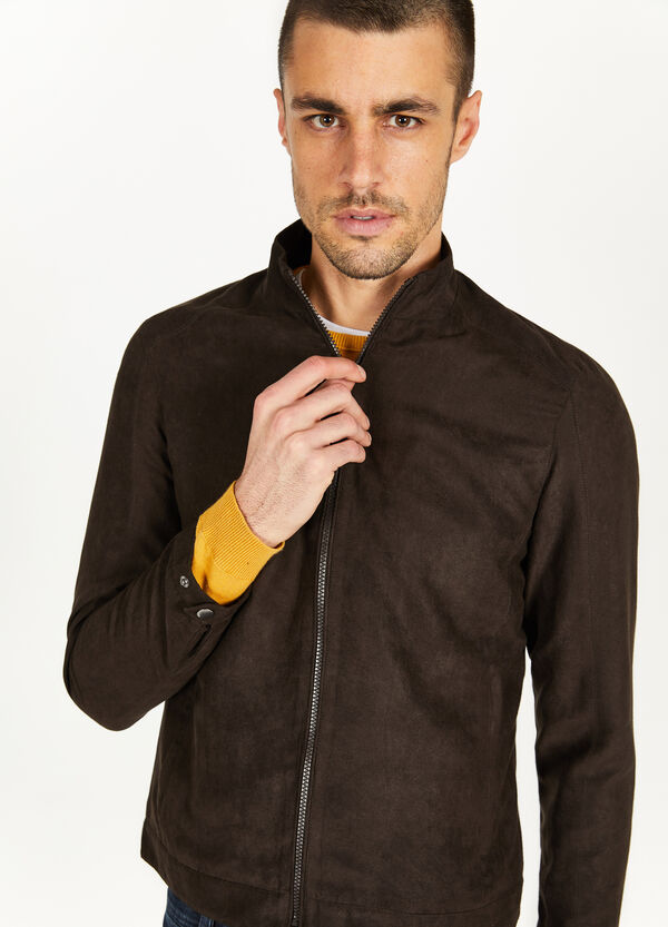 Suede leather-look jacket