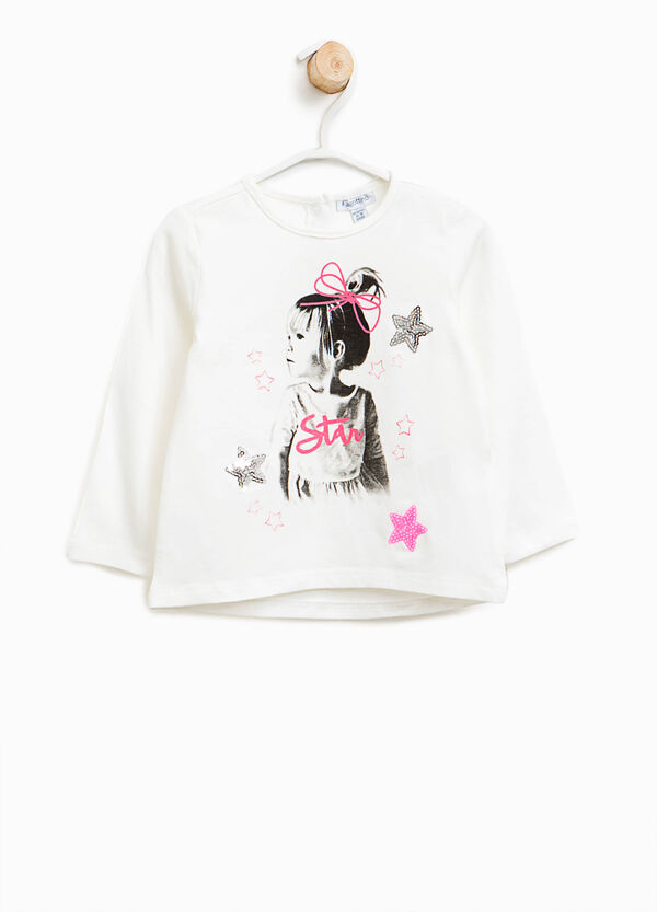 Stretch T-shirt with sequins | OVS