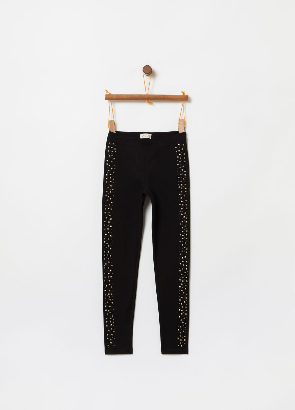 Stretch organic cotton leggings with small studs